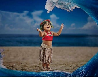 Moana Inspired Costume Set • Top and Skirt • Beach • Pool Outfit • Moana Birthday Outfit • Hula • Baby Beach Outfit •Toddler Beach Outfit