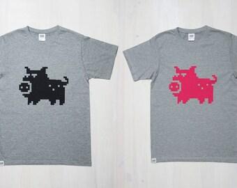 PIGSEL T-shirt, XL, XS, Men's tee, Funky, Grey, Pink, Black, Pig print, Pixel art