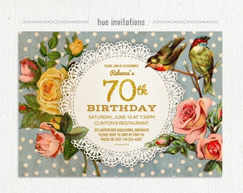 rustic lace doily womens birthday invite, 70th birthday party invitation, polka dots birds floral roses, adult birthday, 5x7 jpg or pdf 848