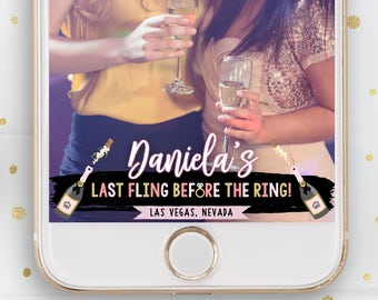 Bachelorette Party, Snapchat, Geofilter, Filter, Last Fling Before The Ring, Champagne, Bottle, Bubbly, Gold, Pink, Glitter, Sparkly, City