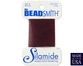 Wine Silamide Waxed Nylon Beadstring Size A (40 Yards) CSL7267