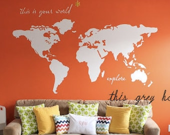 "World Map Wall Decal - 7 ft wide decal - ""this is your world - explore"" - nursery decor - apartment therapy"