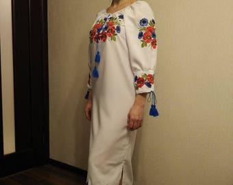 Cute Embroidered Dress - Flowered Dress for womens - Ukrainian Vyshyvanka - Ethnic Dress - Ukrainian dress-Modern dress - Folk
