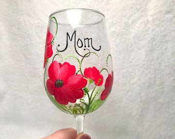 Personalized with free shipping Poppy hand painted wine glass for mothers day grandma nana mom sister aunt friend cousin bridesmaid