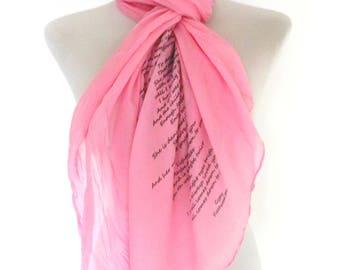 Fleetwood Mac Scarf. Pink. Music lyrics scarf with 'Gypsy' print. Poetry scarf.