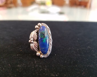 Navajo Sterling Blue-Green Malachite & Azurite Vintage Ring
