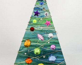 Blue Green Glass Christmas Tree Votive