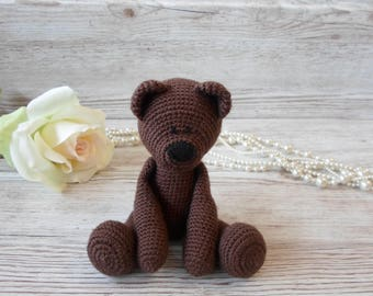 Brown Teddy Bear, Crocheted Bear, Handmade Teddy Bear, New Baby Gift, Baby Shower, Gender Neutral gift, Birthday, Christmas
