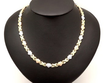 """14K Tri Color Yellow White Pink Gold & """"XO"""" Hearts Hugs Kisses Necklace 17.5"""""""