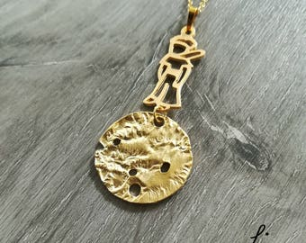 The Prince Inspired Necklace - Prince on planet - Pequeno Principe - 18k gold plated brass - planet - charm necklace