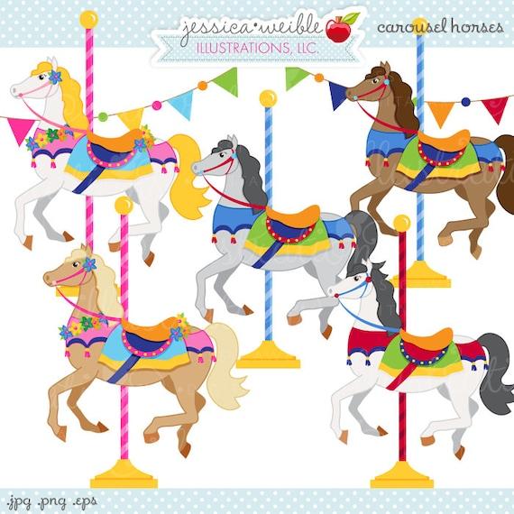 carousel horses cute digital clipart commercial use ok rh etsy com carousel horse clipart free Carousel Horse Clip Art Black and White