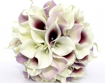 WEDDING BOUQUET Purple Calla Lily Wedding Bouquet, Real To Touch Lavender and Dark Purple Picasso Bouquet