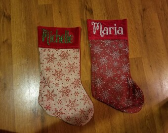Personalized Christmas Stocking, Burlap Stockings