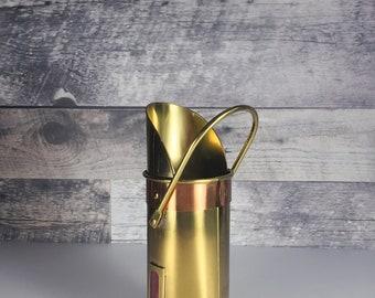 Vintage fireplace match holder   brass match container