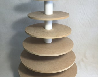 7 Tier Round Unfinished Cupcake Stand with thicker tiers.  Holds up to 160 Cupcakes