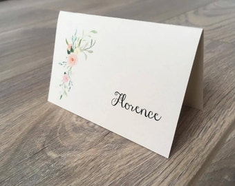 Boho Wedding Place Card / Escort Cards -  On ivory card with watercolour floral print