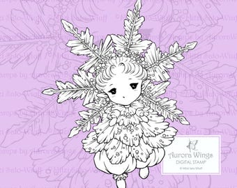 PNG Snowflake Sprite - Aurora Wings Digital Stamp - Christmas Holiday Fairy Image - Fantasy Line Art for Arts and Crafts by Mitzi Sato-Wiuff