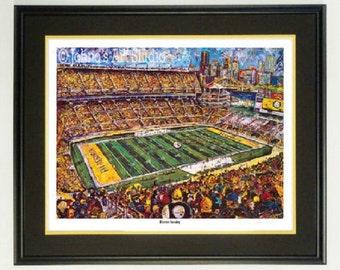 Pittsburgh Steelers wall art, Steelers Heinz Field, Framed print, Heinz Field Stadium, man Cave art, by Johno Prascak