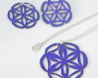 Blue Pierced Mandala Enamel Necklace - Flower of Life Necklace