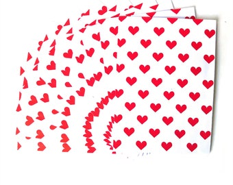 Set of 10 Envelopes White / Red Hearts