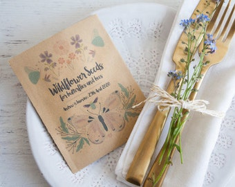 10 Butterflies & Bees Personalised Seed Packet Favours