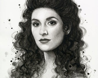 Star Trek Art Deanna Troi Portrait Star Trek Art ORIGINAL Watercolor Painting Deanna Troi Portrait Sci Fi Art Illustration