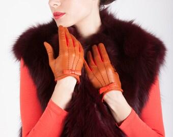 Italian Handmade Women's Leather Gloves Dress Gloves Winter Gloves Italian Leather Gloves Fashionable Gloves
