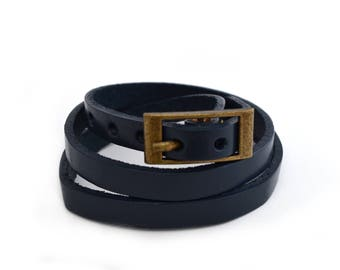 Navy blue leather bracelet to wrap