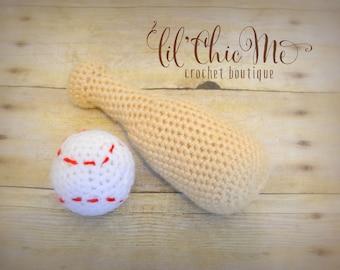 Baseball Bat & Ball Set/Stuffed Toy/Crochet Photo Prop