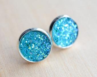 Blue Druzy Earrings - Aqua Druzy Earrings - Ocean Druzy Earrings - Druzy Post Earrings - Purple Earrings - Bridesmaids Gifts