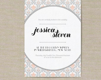 Wedding Invitations - Damask Pattern - Customize for your special day!