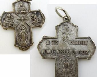 Vintage Four Way Cross Pendant Medal French Je Suis Catholique Appeler un Prêtre