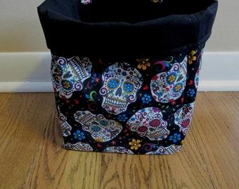 Sugar Skull Litter Bag, Car Trash Bag, Car Caddy