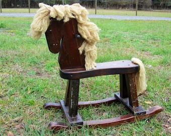 Vintage Handcrafted Wooden Child's Rocking Horse