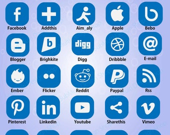 Social media icons / social network icons / icons / web icons / commercial use / SVG / png/ icons with name / vector icons / High Quality
