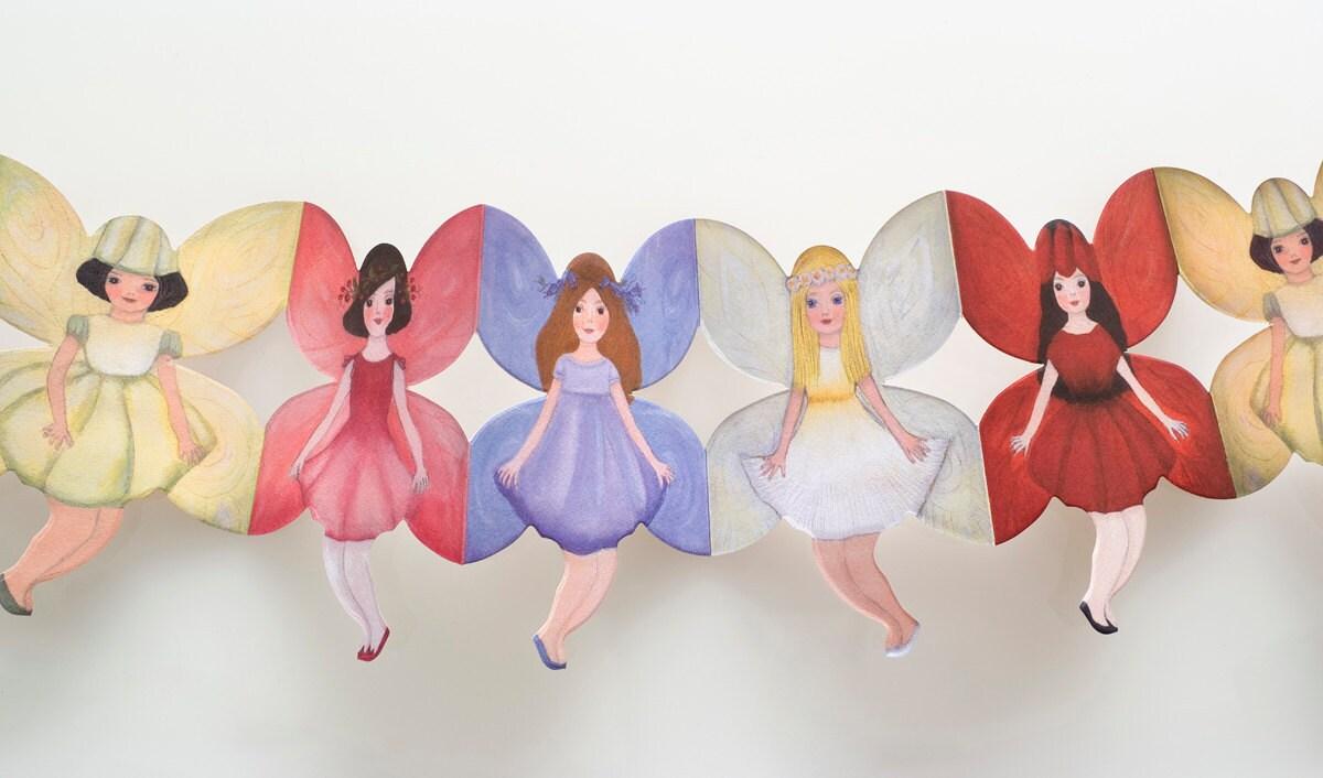 Precioso Papel Mu Eca Cadenas Flores Hadas Guirnaldas # Muebles Cadena Flores
