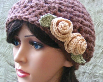 Boho Hat Crochet Pattern - Shabby Chic Boho Hat with Ribbon / Flower - Quick and Easy Pattern with Warm Chunky Yarn / Wool - Easy Gift Idea