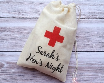 Personalised Hens Night, Bachelorette, Hens Party, Hangover Kit, Survival Kit, Party Bags, Recovery Kit, Coloured Cross Muslin Favor Bags