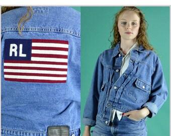 Womens Denim Jacket / 90s Vintage Ralph Lauren US Flag Jean Jacket / Cropped Distressed & Faded Cotton Denim Jean Jacket S / M / L