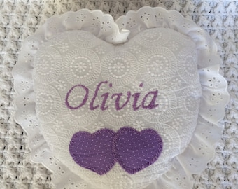 Customized child decorative pillow, embroidered pillow, heart shaped pillow, custom name pillow