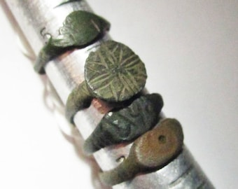 All 4 Medieval Rings from Northern Europe from the 12th. to 16th. C. in sizes 5.75, 6.25, 6.75, 7.0 - All Imperfect