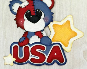 "Pre-made Paper Piecing Die Cut ""USA Bear"" Embellishment, 4th of July Embellishment, 4th of July Die Cut, Red White and Blue"
