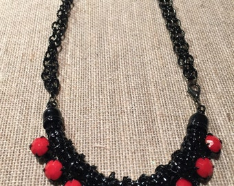 Black and Red  Necklace, Red Necklace, Black with Red Jewelry