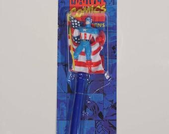 1995 Sealed Captain America Pen! Marvel Comics American Flag Shield Steve Rogers 1990s Comic Book Pen Party Factory Sealed New