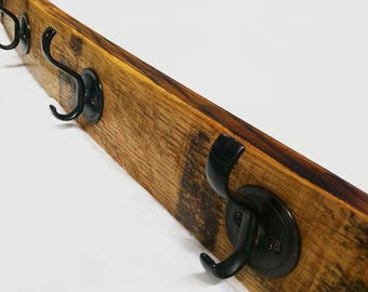 Winelovers Coat Rack made from reclaimed wine barrel staves.