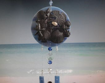 "Wind Chime, Stained Glass, Garden Sculpture, Home Decor, Glass Windchime, Pewter Filigree, Mobile, Blue, Ocean, Sea Shells, ""By The Sea"""
