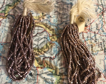 Fabulous French Steel cut bead hank dusty rose gold antique vintage metal seed beads