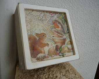 Vintage,wooden,Winter scene box,square wood with robin,squirrel in snowy garden with German glass glitter