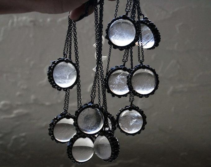 Crystal Ball Necklace // Round Quartz Layering Necklace // Clear Quartz Sphere Necklace