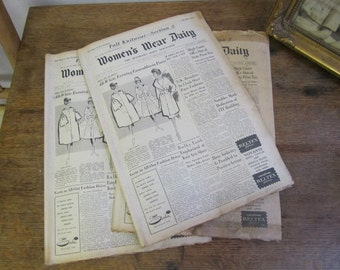 Women's Wear Daily Newspaper 1959. Fall Knitwear Section Adverts and Fashion pieces. Ephemera. Collage. Scrapping.